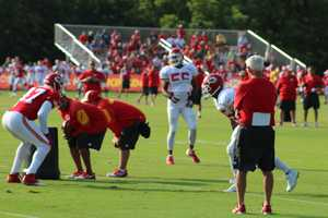 The Kansas City Chiefs practice a final time from training camp before their first preseason game versus the Cincinnati Bengals Thursday. Rookie Dee Ford rushes the passer during a pass-blocking drill at training camp.