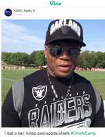 """Chiefs fan, Archie, dresses up in rival Raiders gear after losing a bet. I lost to the """"love of my life, Becky"""" he says. Watch the Vine video."""