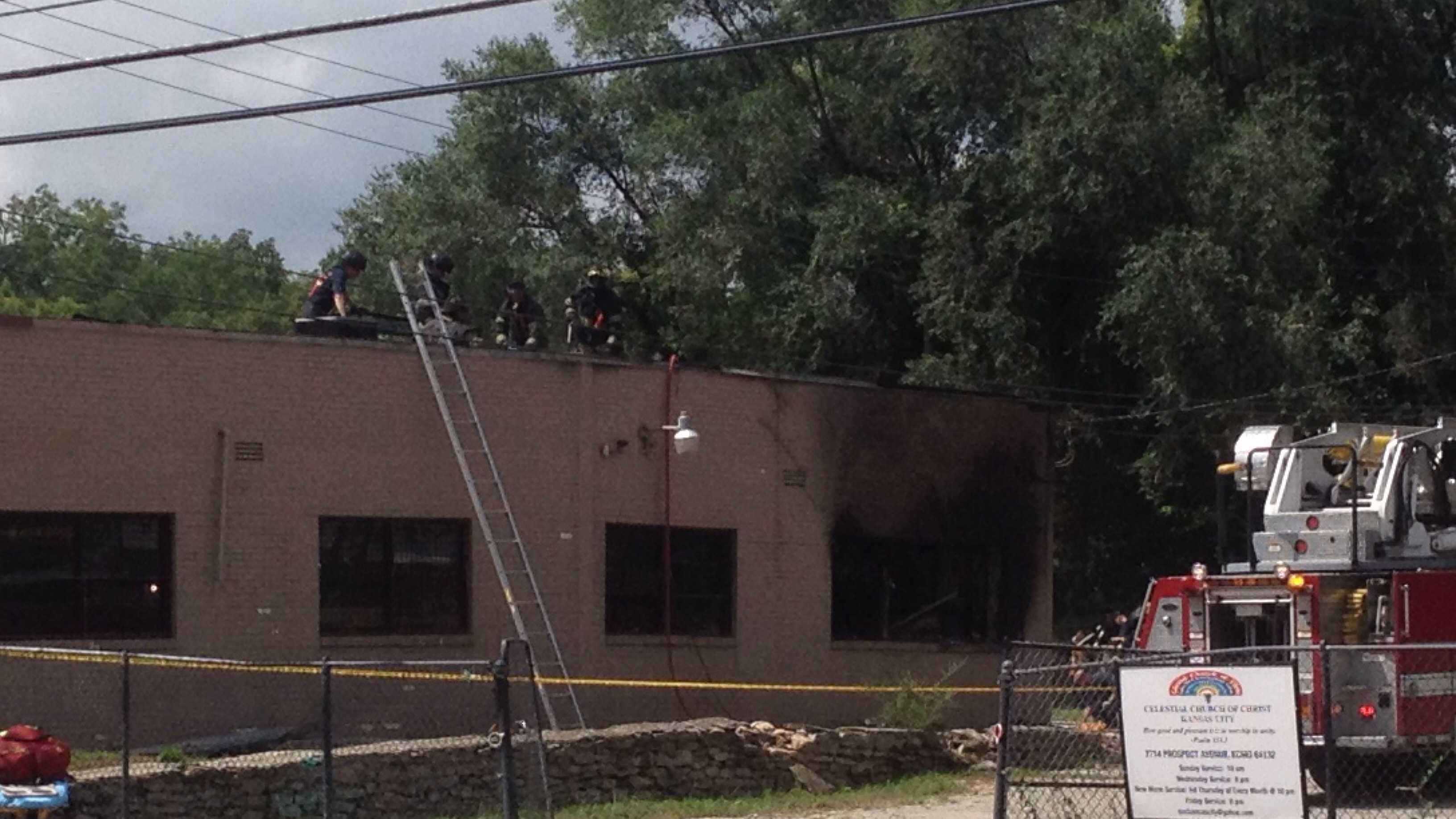Fire damages building at 77th and Prospect