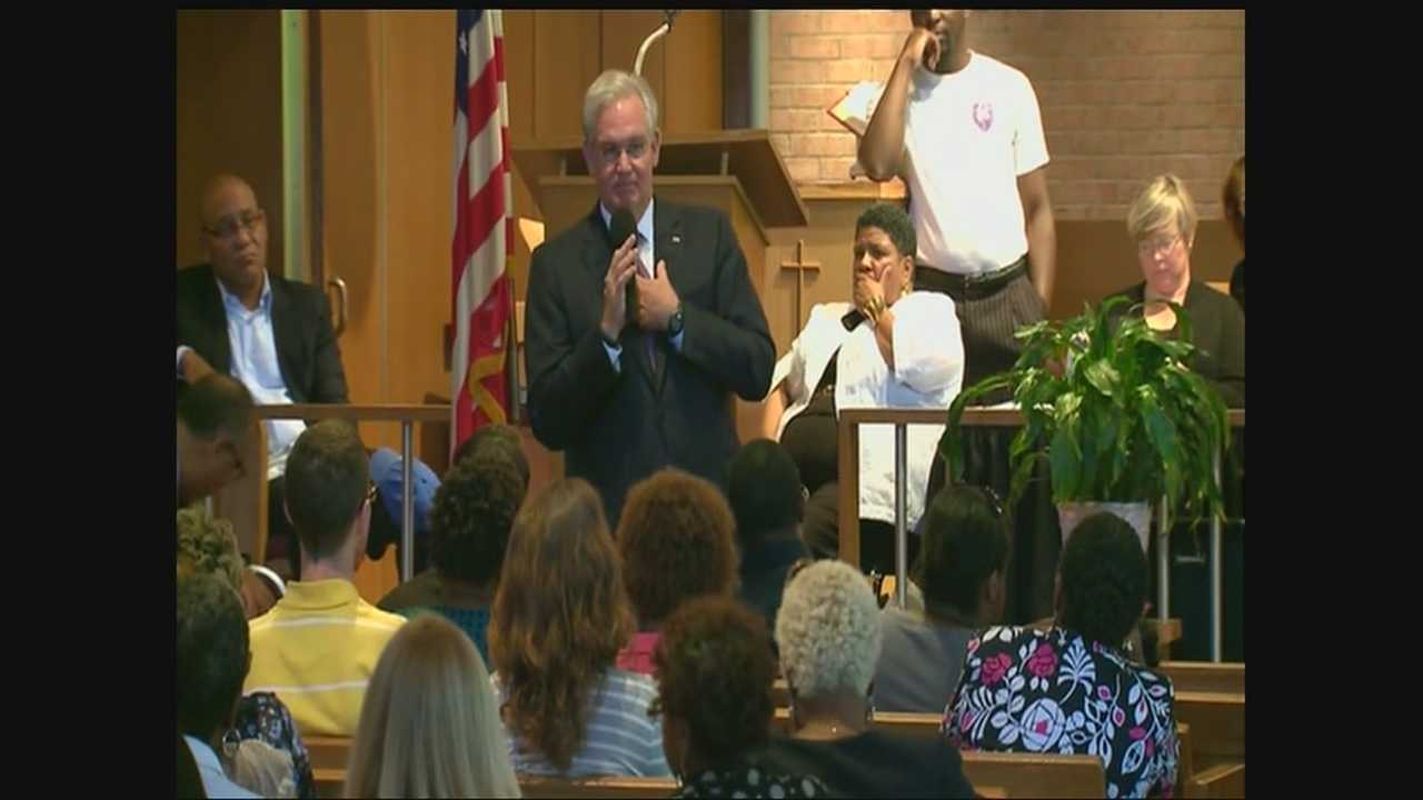 Gov. Jay Nixon in Ferguson, speaking at church