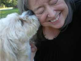 Cindy says:Celebrating National Dog Day with my sweet Dolly!! Love her so much!
