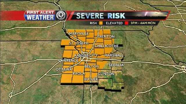 Tonight's severe risk