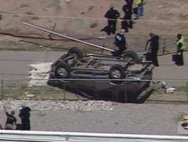 An SUV rolled off Interstate 40 between the Eubank and Juan Tabo exits on Thursday afternoon.