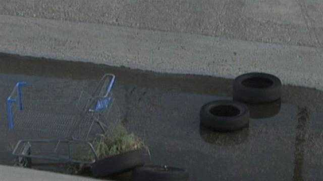Tires dumped in arroyo