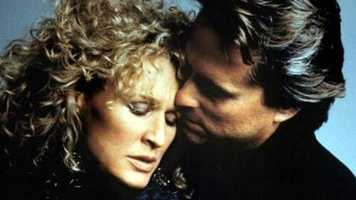 "1987: Glenn Close and Michael Douglas in the suspense thriller ""Fatal Attraction."""