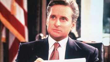 "1995: Michael Douglas as President Andrew Shepard in Rob Reiner's romantic dramedy ""The American President."""