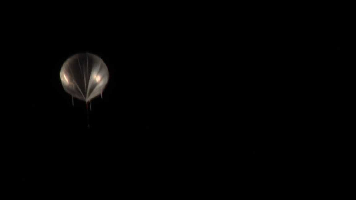 A photo of the weather balloon floating over New Mexico on Saturday.