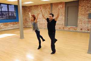98 Degrees member Drew Lachey  and partner Anna Trebunskaya are on their toes.