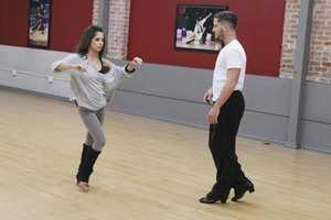 Soap opera actress Kelly Monaco and Val Chmerkovskiy get ready. Monaco was the first Dancing With The Stars champion.