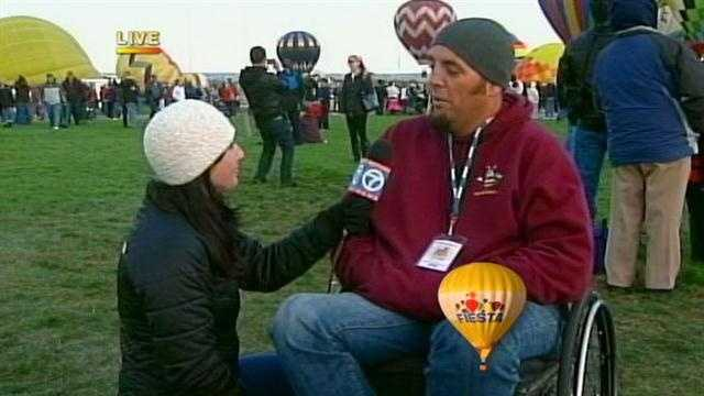 The only man to pilot a hot air balloon in a wheelchair is at the 2012 Albuquerque International Balloon Fiesta.