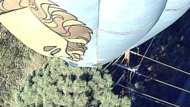 Balloon into power line