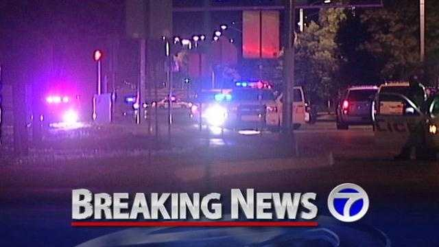 An Air Force Security police officer has been shot and the gunman is still on the loose.