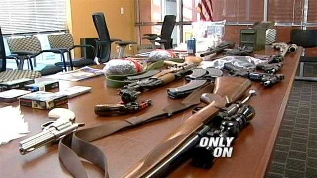 As the nation renews the debate about gun control, and the availability of automatic weapons homeland security agents make a disturbing bust. A huge load of high quality meth and a surprising cache of high-powered guns, some stolen!