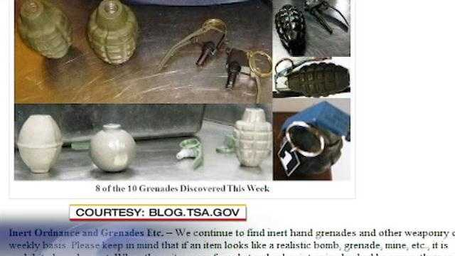 Two inert grenades that's what TSA officials say they found in a checked suitcase, at the Sunport last week.