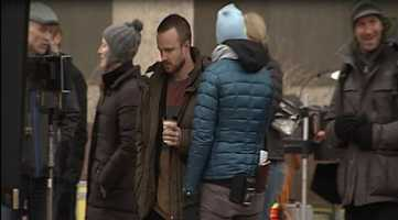 The popular TV show shut down parts of downtown Albuquerque on Tuesday. Actor Aaron Paul could be seen Tuesday filming near Civic Plaza and the Convention Center.