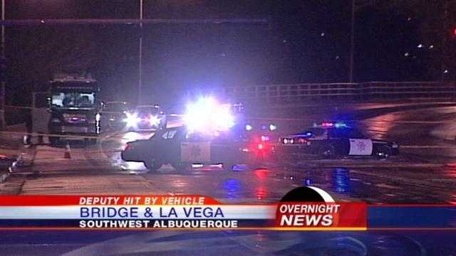 A Sheriffs Deputy was hit by a vehicle as he was directing traffic at La Vega and Bridge.