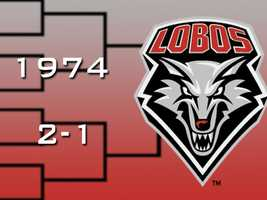 In 1974, Norm Ellenberger led New Mexico back to the tournament. The Lobos defeated Iowa State in the first round before losing in the final seconds to San Francisco. In a consolation game, UNM pulled out a five-point win over Dayton.