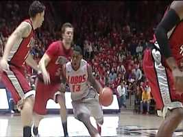 9. Conference Opener: The Lobos set the tone by beating rival and 24th ranked UNLV at The Pit 65-60. Alex Kirk won the battle against NBA prospect Anthony Bennett, by scoring 23 points and nine rebounds.