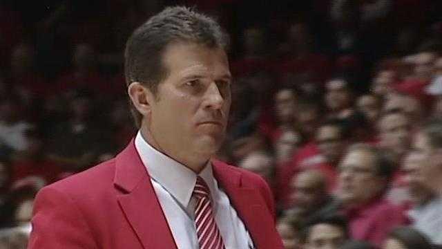 Steve Alford in red blazer