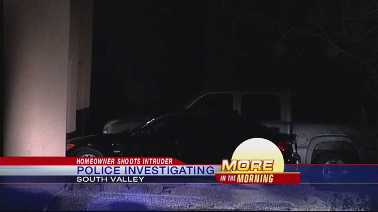 Bernalillo County Sheriff's Officers are investigating after a homeowner shoots an intruder  trying to break into his south valley home.