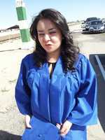 My sister being silly just before graduating from CNM.