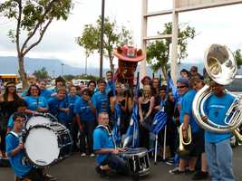 Del Norte Phantom Knight Band before the 2011 State Fair Parade.