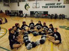 St. Michael's Junior Varsity, Pony Express dance team, after a competition at Hope Christian School, representing their support and love for the Horseman. Go Horseman!