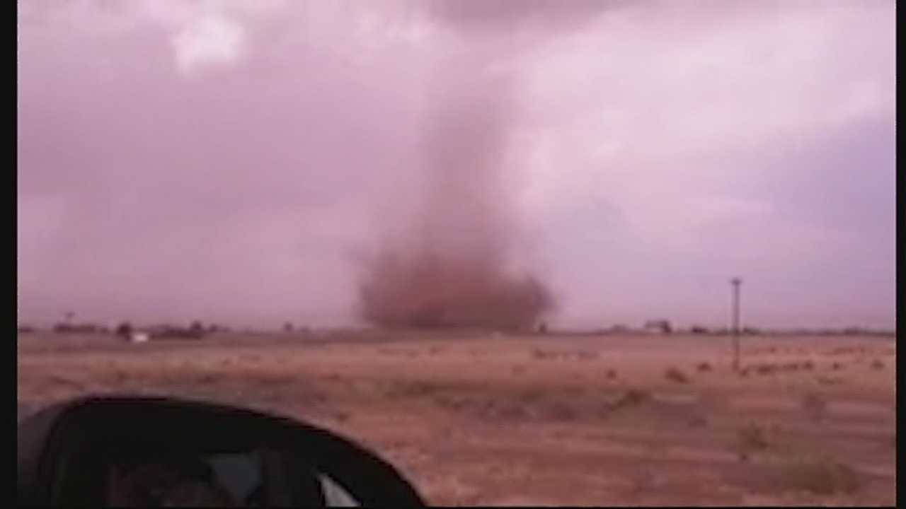 High winds brought a landspout central New Mexico on Sunday.