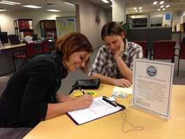 See photos of same-sex couples applying for marriage licenses in Bernalillo County on Tuesday.