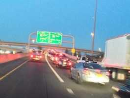 Shot of traffic on I-40 as a result of the car fire.