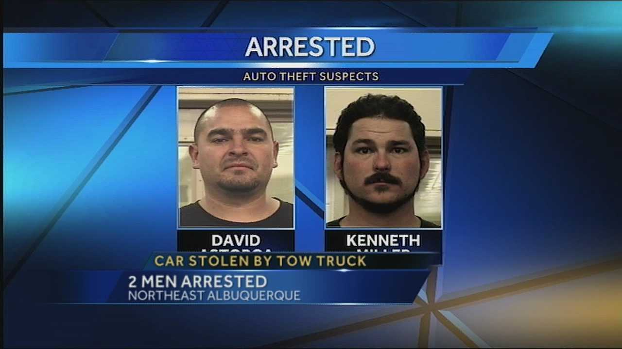 Two people are being accused of stealing a car from right outside someone's home with a tow truck, according to police.