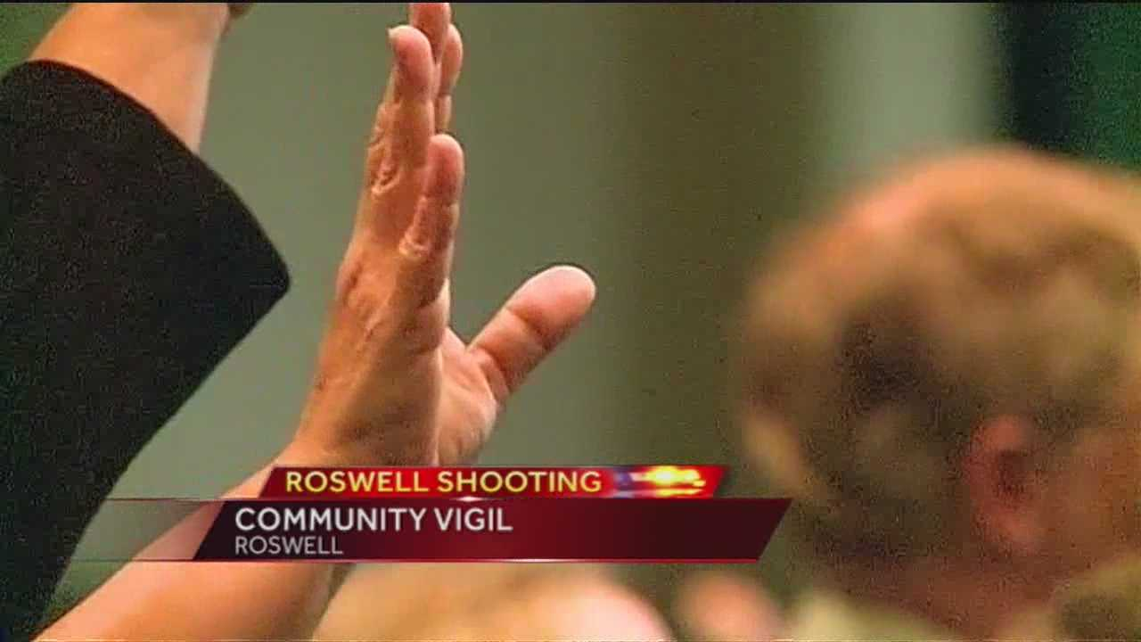 Churches in Roswell held a joint vigil for the victims of Tuesday's shooting at Berrendo Middle School.