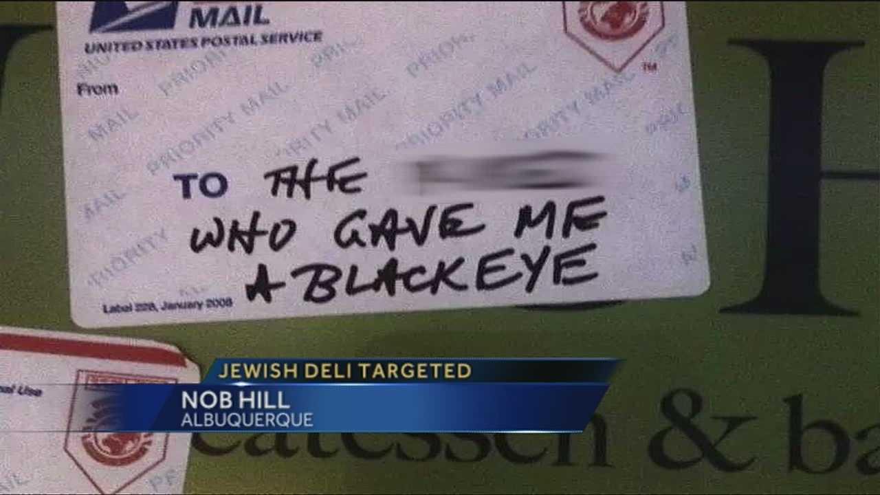 Derogatory notes left on door of Nosh Deli