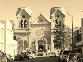Corazon de Santa FeSt. Francis Cathedral Basilica shot from La Fonda Cross walk, downtown Santa Fe.