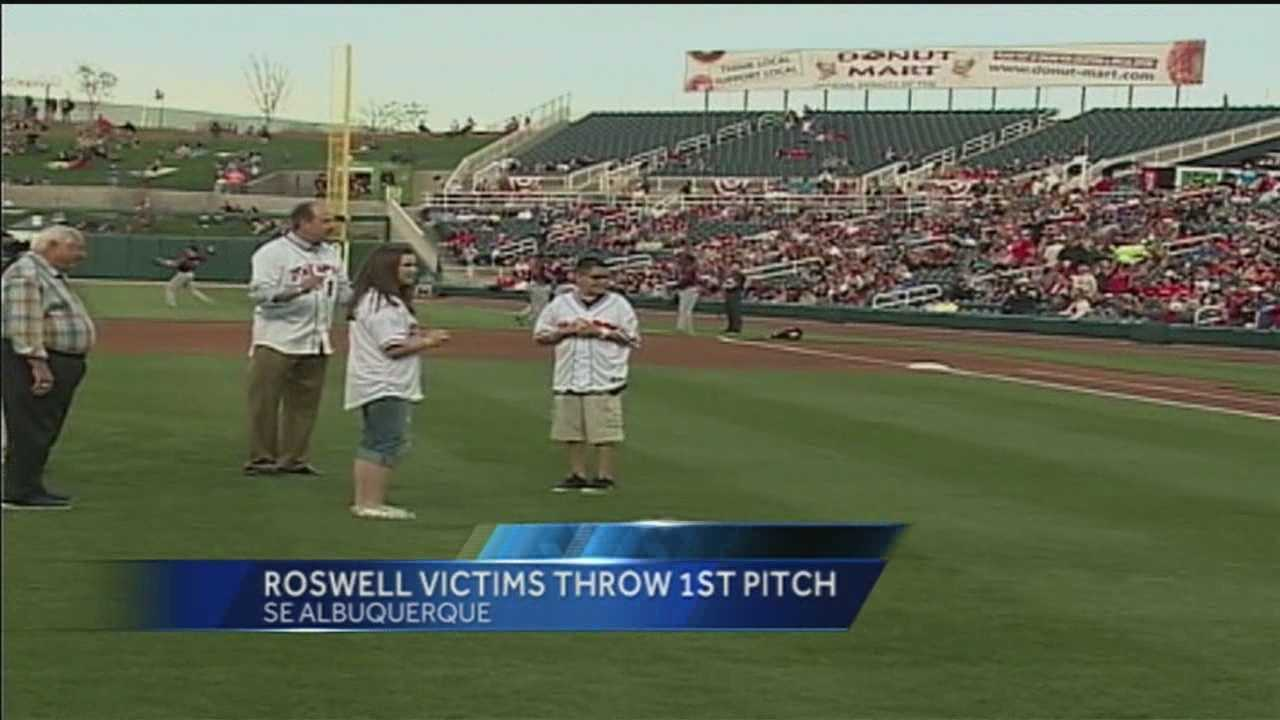 WATCH: Roswell shooting victims throw out first pitch