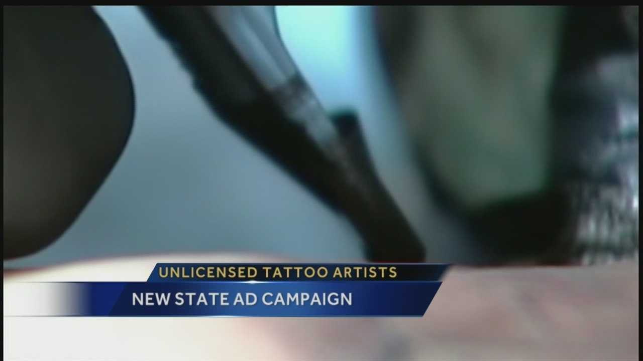 Officials are taking a message about unlicensed tattoo parlors to the airwaves.