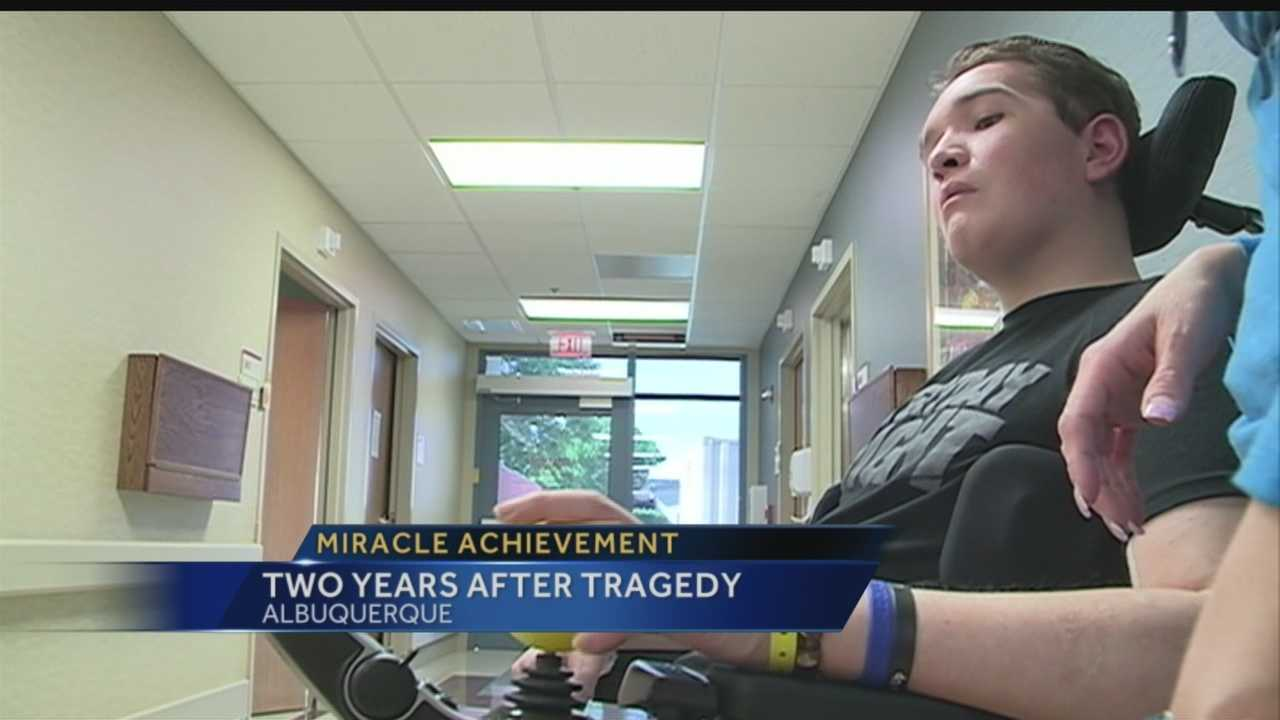 TWO YEARS AFTER A MOTORCYCLE ACCIDENT SERIOUSLY INJURED A TEENAGER - HE'S FINALLY GETTING HIS HIGH SCHOOL DIPLOMA.