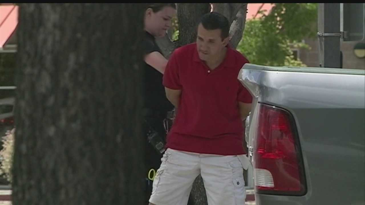 A man was caught Wednesday while eating McDonald's in a car police say he had stolen.