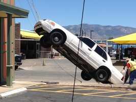 See photos of Tuesday's odd crash in northeast Albuquerque.