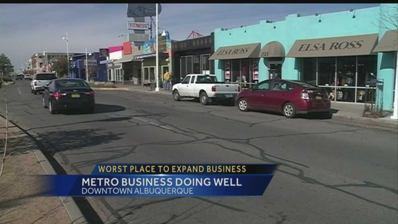 If you're looking to locate or expand your business, turns out Albuquerque isn't a great place to do it. That's according to a new study that looks at how metro areas are bouncing back from the recession. However, one business downtown doesn't believe what those numbers say.