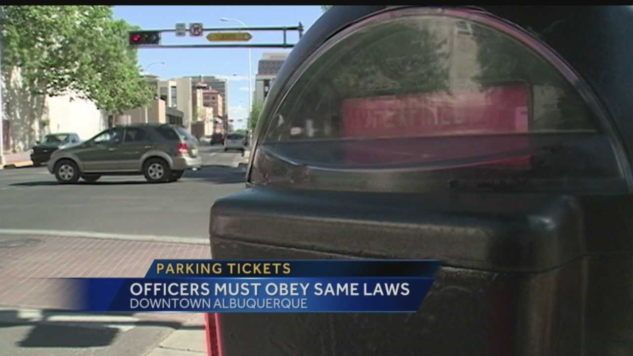A Bernalillo County sheriff's deputy car, sitting in a no-parking zone downtown, was recently ticketed.