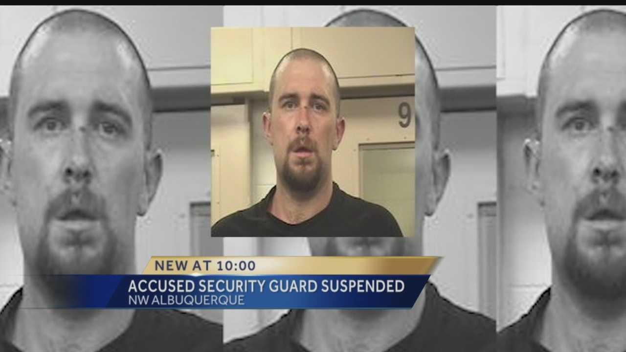 The state has suspended the license of an Albuquerque security guard accused of kidnapping a woman and exposing himself to her on the job.