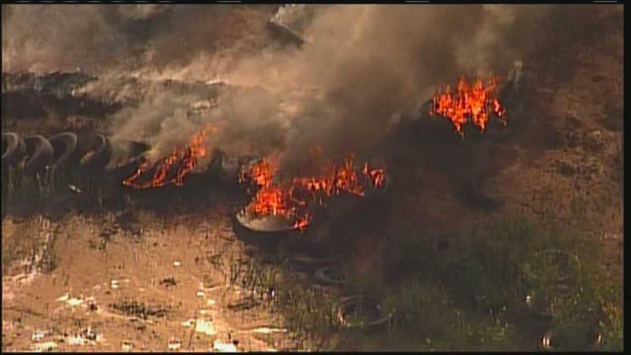 Sky 7 web only video over tire fire