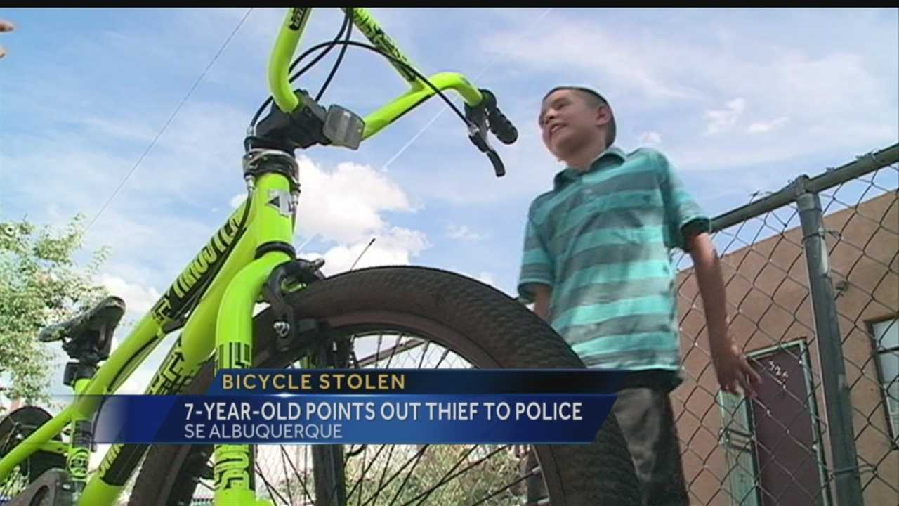 A grown man pushed a kid off his bike and then stole it.