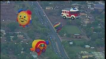 Despite a damp morning, balloons flew in the Special Shapes rodeo.