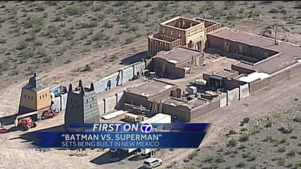 Work on one of the sets in the new 'Batman vs. Superman' movie is underway near Deming.