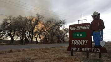 A fire burns on the Isleta Pueblo in February, but no structures are affected.