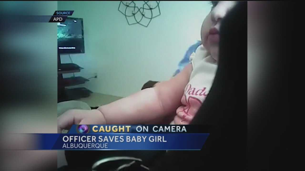 Caught on camera: Officer saves baby girl