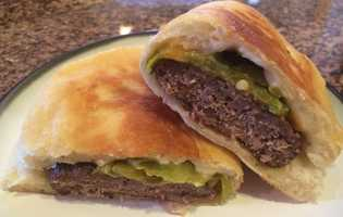 Green Chile Frybread Cheeseburger by u local user Sheyennebaker81. CLICK HERE for the recipe.