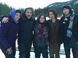 The Revenant shoot: Angela Gibbs (actor and acting coach) Alejandro Inarritu (director), Laurie Goodluck (mom), Forrest Goodluck and Kalen Goodluck (brother).